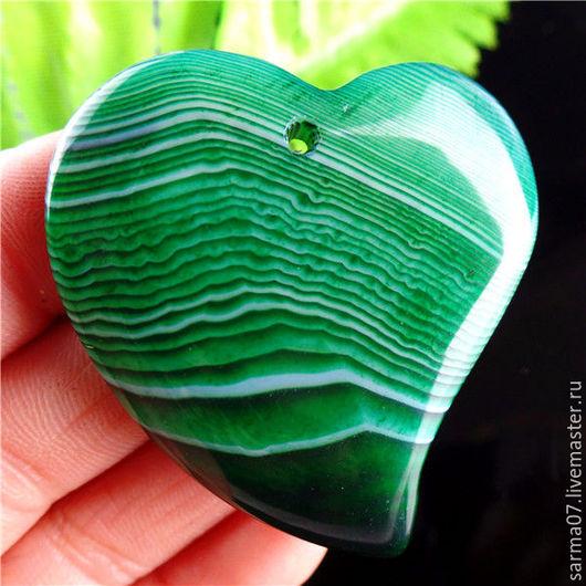 Для украшений ручной работы. Ярмарка Мастеров - ручная работа. Купить Агат  камень кулон подвеска сердце зеленое. Handmade.