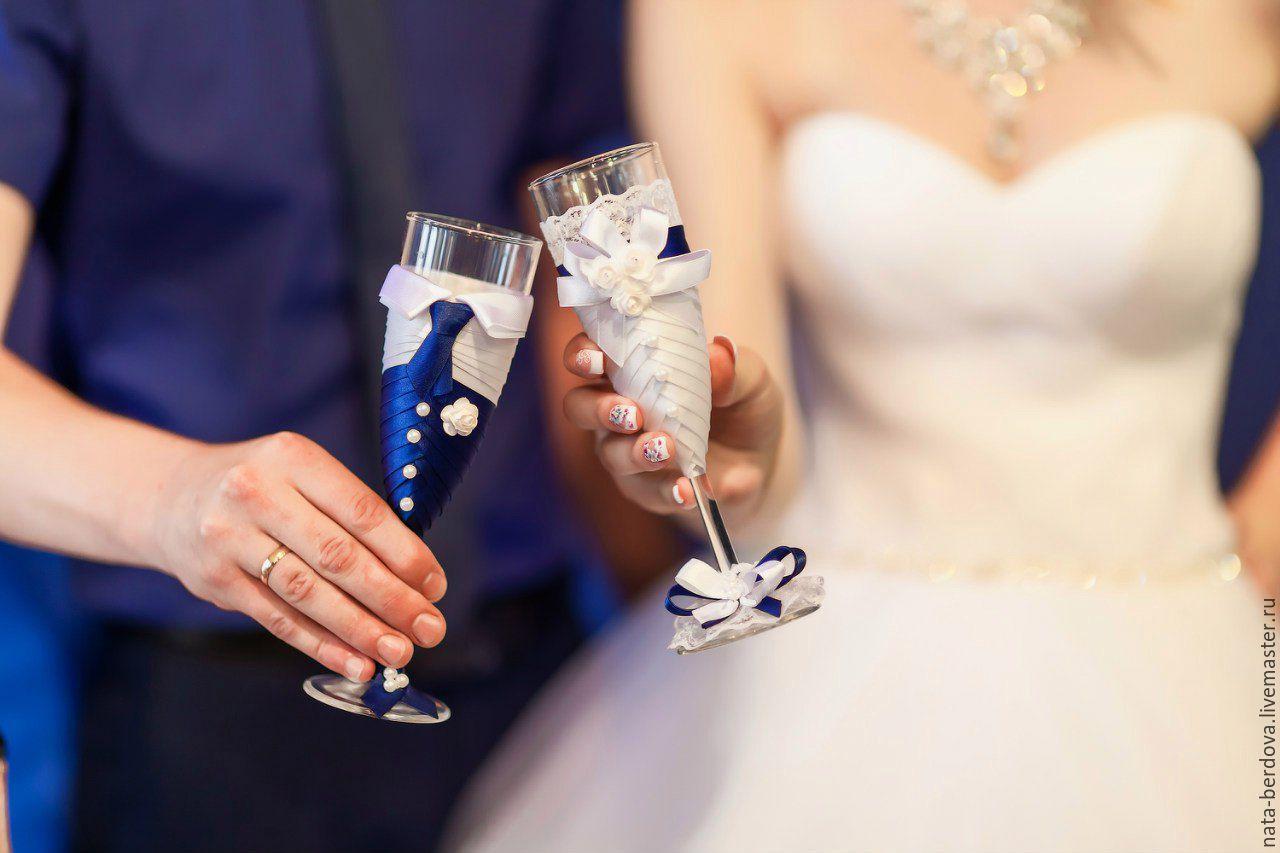 Свадебные фужеры жених и невеста