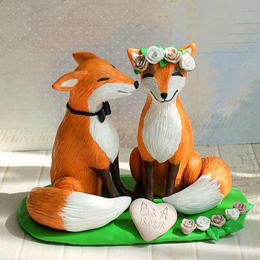 Свадебный салон ручной работы. Ярмарка Мастеров - ручная работа Свадебные фигурки на торт Лисы. Handmade.