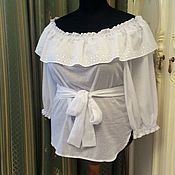 Одежда ручной работы. Ярмарка Мастеров - ручная работа Большие размеры. Блузка белая. Handmade.
