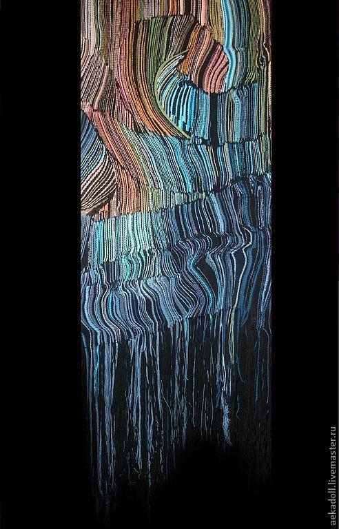 """Абстракция ручной работы. Ярмарка Мастеров - ручная работа. Купить Гобелен """"Гравитационная сингулярность"""". Handmade. Синий, гладкое ткачество"""