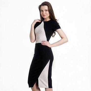 Одежда ручной работы. Ярмарка Мастеров - ручная работа 017: 42 размер - Вечернее платье футляр с кружевом. Handmade.
