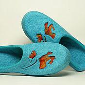 """Обувь ручной работы. Ярмарка Мастеров - ручная работа Валяные тапочки """"Маковый Блюз"""". Handmade."""