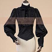 Одежда handmade. Livemaster - original item Victorian Black Penny Blouse Shirt. Handmade.