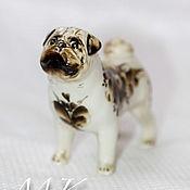 Figurines handmade. Livemaster - original item Pug porcelain in color. Handmade.