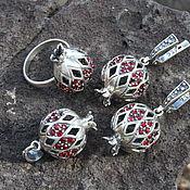 Украшения handmade. Livemaster - original item Garnet jewelry set with zircons made of 925 GA0050 silver. Handmade.