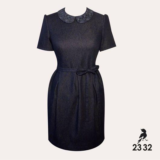 """Платья ручной работы. Ярмарка Мастеров - ручная работа. Купить Джинсовое платье """"Mila"""". Handmade. Платье, платье с воротничком, воротник"""