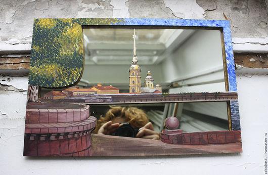 Зеркала ручной работы. Ярмарка Мастеров - ручная работа. Купить Зеркало Петропавловка. Handmade. Зеркало настенное, зеркало в деревянной раме