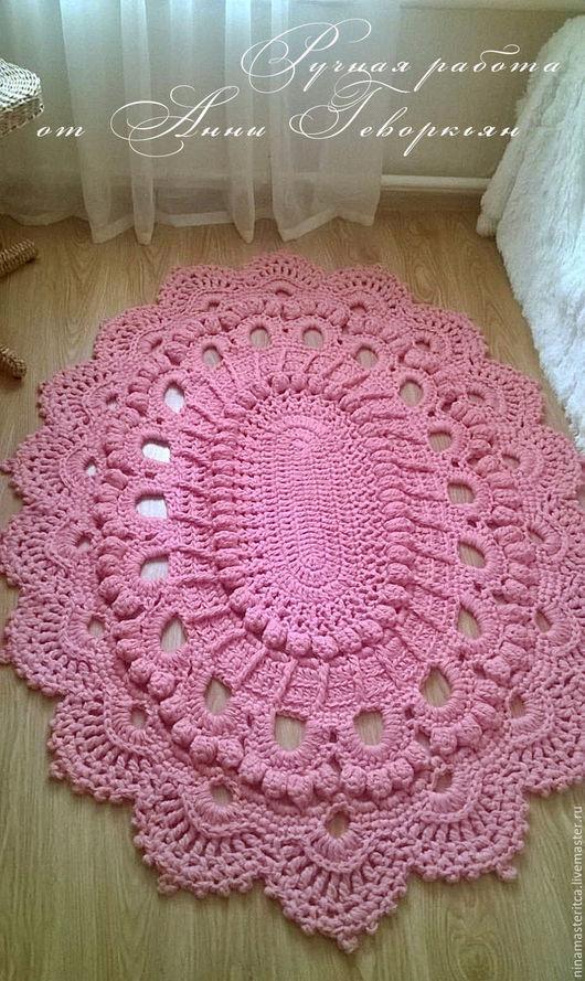 """Текстиль, ковры ручной работы. Ярмарка Мастеров - ручная работа. Купить Ковер овальный из акриловой пряжи """"Розовый фламинго"""". Handmade."""