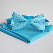 Аксессуары handmade. Livemaster - original item Blue tie butterfly Retro circles blue pocket square Pasha. Handmade.
