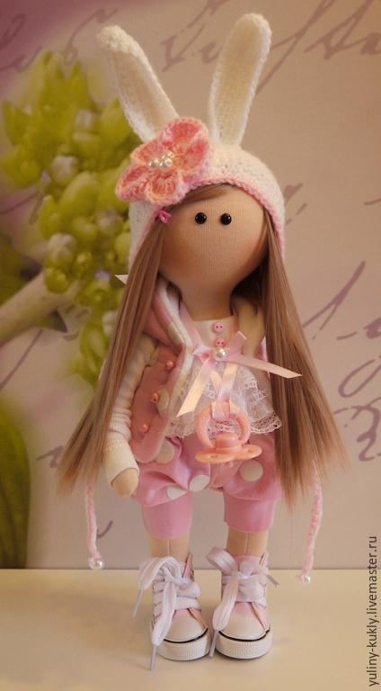 Коллекционные куклы ручной работы. Ярмарка Мастеров - ручная работа. Купить Текстильная куколка малышка Моя Зайка. Handmade. Розовый