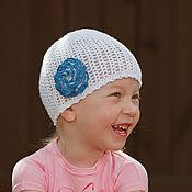 Работы для детей, ручной работы. Ярмарка Мастеров - ручная работа Стрейч шапочка белая с махровым цветочком. Handmade.