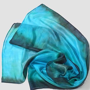 Аксессуары ручной работы. Ярмарка Мастеров - ручная работа Бирюзовая Дымка нежный легкий шелковый шарфик бирюзового цвета. Handmade.