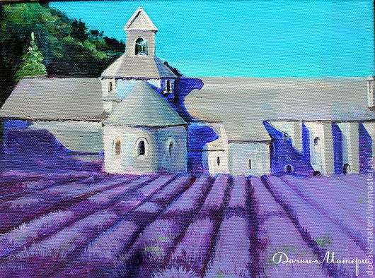 """Пейзаж ручной работы. Ярмарка Мастеров - ручная работа. Купить картина """"Лавандовое аббатство"""". Handmade. Фиолетовый, лаванда, аббатство"""