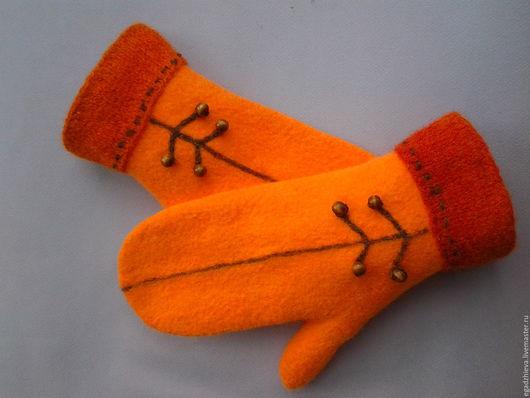 Варежки, митенки, перчатки ручной работы. Ярмарка Мастеров - ручная работа. Купить Варежки валяные оранжевое настроение. Handmade. Оранжевый