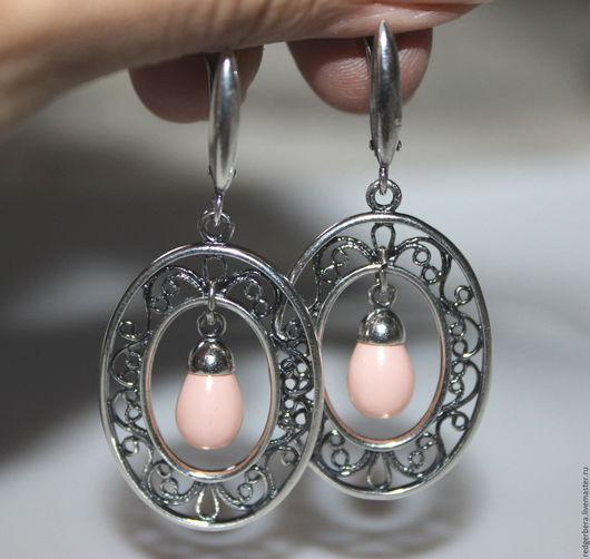 """Серьги ручной работы. Ярмарка Мастеров - ручная работа. Купить Серьги """"Эльга"""" жемчуг, серебрение 925 пробы. Handmade."""