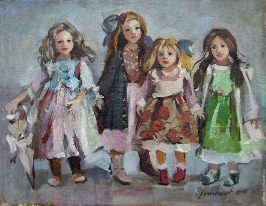 Картина маслом с куклами. Картина написана маслом, небольшого размера. На картине изображены куклы в пастельных цветов платьях. Куклы - маленькие принцессы  в картине.