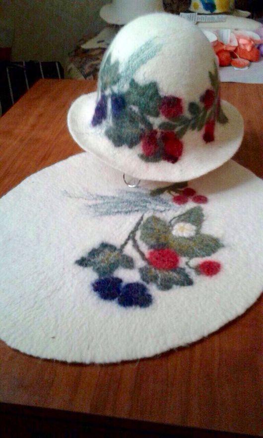 Комплекты аксессуаров ручной работы. Ярмарка Мастеров - ручная работа. Купить Коврик и шапка для бани.(женский комплект). Handmade. Рисунок