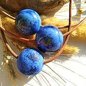 Украшения ручной работы. Ярмарка Мастеров - ручная работа колье-кулон  -шар из стекла  кобальтовые синие. Handmade.