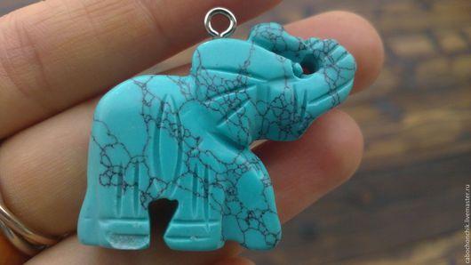Для украшений ручной работы. Ярмарка Мастеров - ручная работа. Купить Подвеска слон, статуэтка слон, кулон бирюза. Handmade.