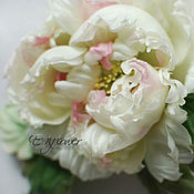 Свадебный салон handmade. Livemaster - original item Silk flowers. Flower brooch Peony .
