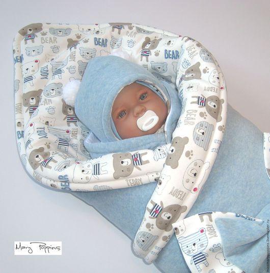 """Для новорожденных, ручной работы. Ярмарка Мастеров - ручная работа. Купить Комплект на выписку """"Тедди"""". Handmade. Голубой, комплект на выписку"""