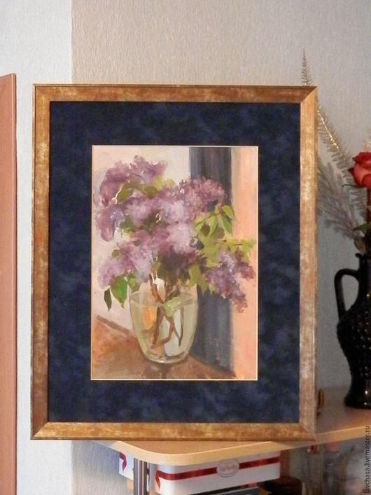 """Картины цветов ручной работы. Ярмарка Мастеров - ручная работа. Купить Картина """"Сирень"""". Handmade. Сиреневый, цветы, подарок маме"""
