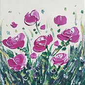 Картины ручной работы. Ярмарка Мастеров - ручная работа Картина яркие розы красивые цветы летние розы весенние цветы. Handmade.