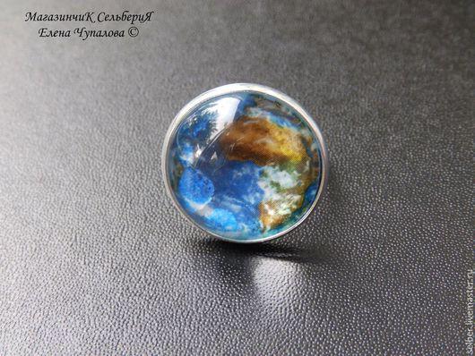 Кольца ручной работы. Ярмарка Мастеров - ручная работа. Купить Кольцо Планета Земля. Handmade. Голубой, космос