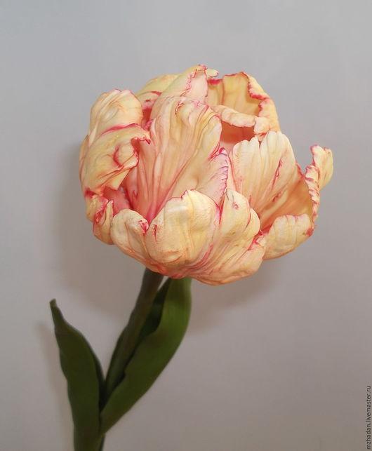Тюльпан,тюльпан из полимерной глины,тюльпан ручной работы,керамическая флористика