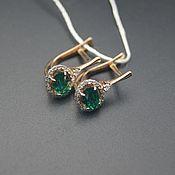 Украшения handmade. Livemaster - original item 585 gold earrings with emeralds and diamonds. Handmade.
