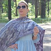 Аксессуары handmade. Livemaster - original item Felted scarf made of wool and silk.Long Felted Scarf Lavender Mist. Handmade.