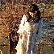 Одежда ручной работы. Ярмарка Мастеров - ручная работа Платье БОХО из льна и натурального кружева (№216). Handmade.