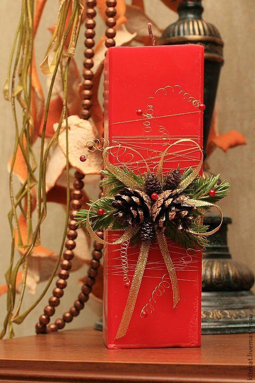 """Свечи ручной работы. Ярмарка Мастеров - ручная работа. Купить Свеча """"Рождество"""". Handmade. Ярко-красный, шишки, рождество, шишки"""