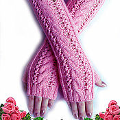 """Аксессуары ручной работы. Ярмарка Мастеров - ручная работа Митенки """"Розовые розы"""". Handmade."""
