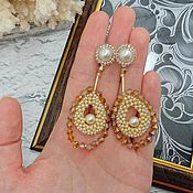 handmade. Livemaster - original item Earrings: Golden Drop earrings. Handmade.