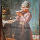 Панно - разделочная доска «Девочка на кухне пьет чай»