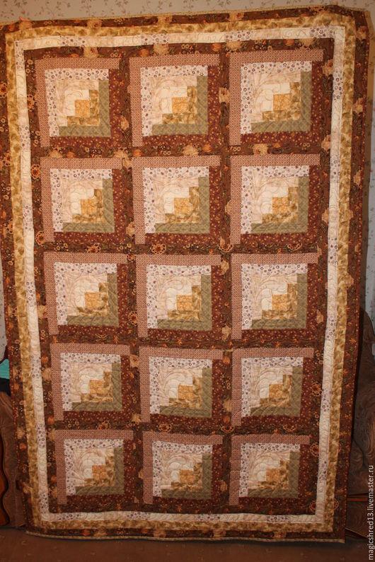 """Текстиль, ковры ручной работы. Ярмарка Мастеров - ручная работа. Купить покрывало""""Бабушкина изба"""". Handmade. Коричневый, лоскутное покрывало"""