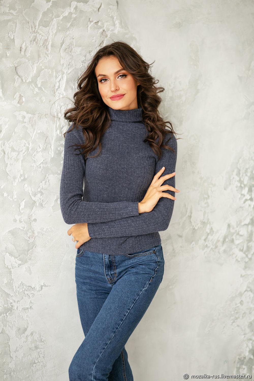 Blueberry viscose turtleneck, turtleneck fitted knitwear grey, Turtleneck Sweaters, Novosibirsk,  Фото №1