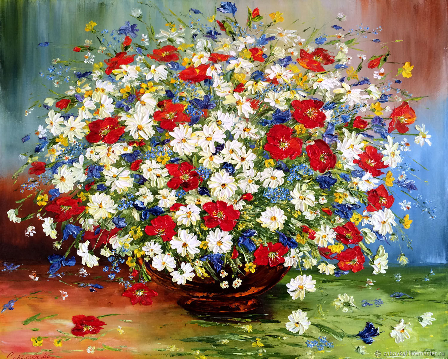 Oil painting of Daisies with poppies, Pictures, Moscow,  Фото №1