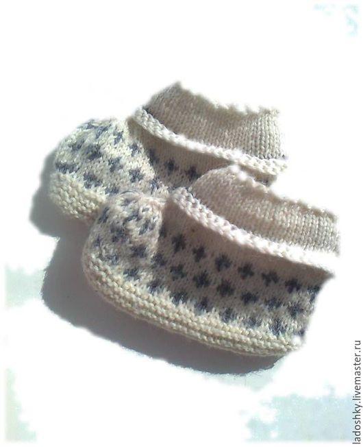 Для новорожденных, ручной работы. Ярмарка Мастеров - ручная работа. Купить Носочки белые. Handmade. Белый, мериносовая шерсть