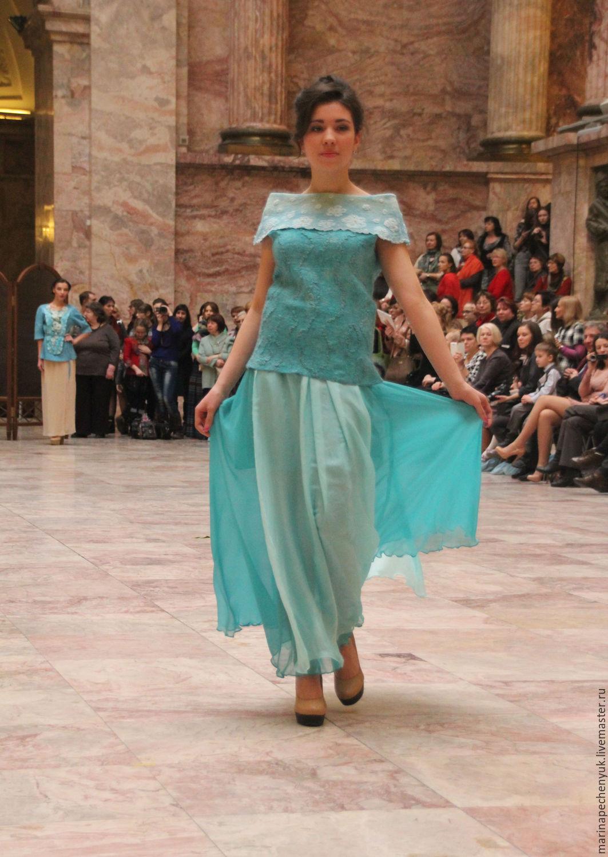 Валяная блузка `Капли росы бирюзового утра ` Марина Печенюк