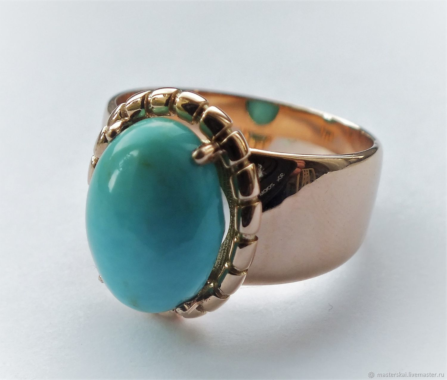 Ring 'Eugene' - natural turquoise, gold 585, Rings, Moscow,  Фото №1