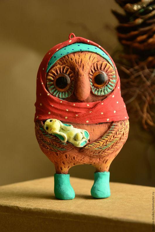 Новый год 2017 ручной работы. Ярмарка Мастеров - ручная работа. Купить Ёлочная игрушка Совушка с зайкой. Handmade. Папье-маше