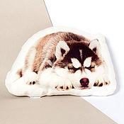 Для дома и интерьера ручной работы. Ярмарка Мастеров - ручная работа Щенок хаски. Декоративная льняная подушка в виде щенка. Handmade.