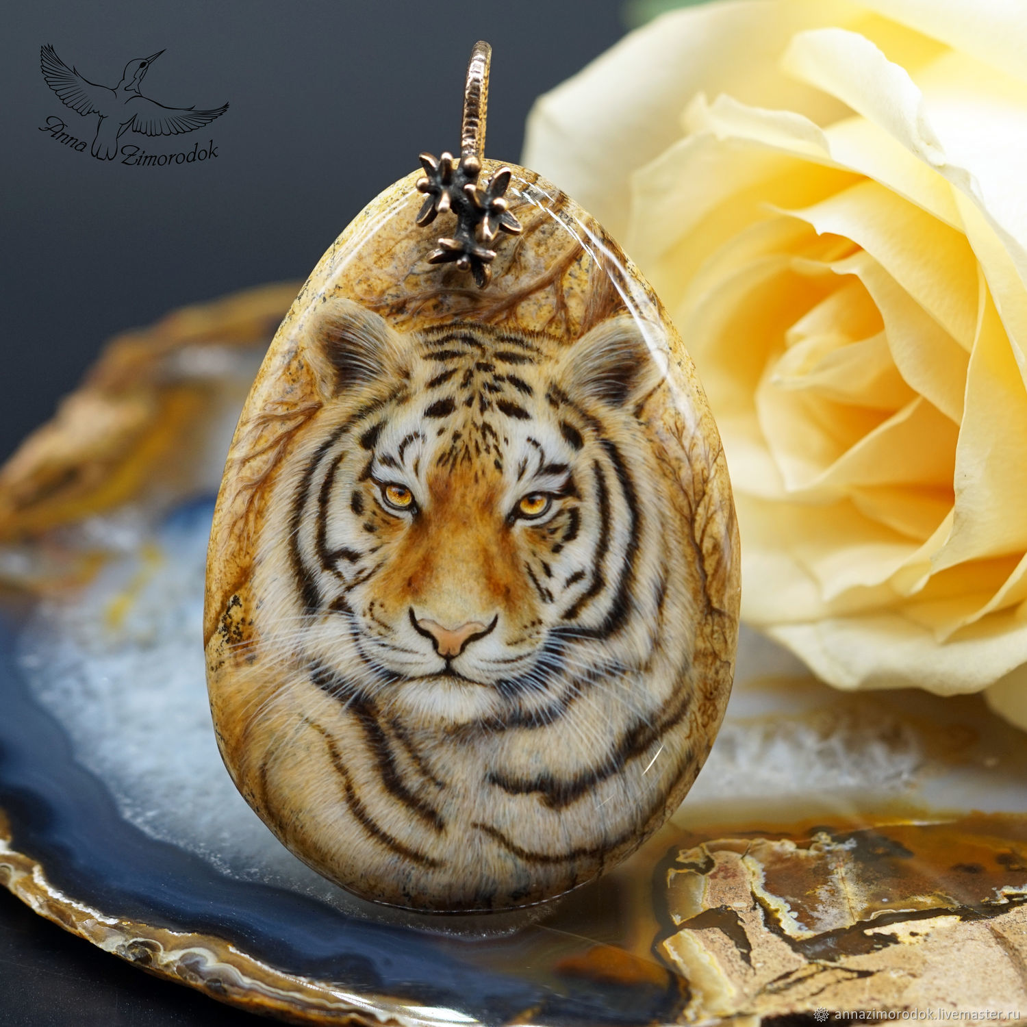 Stylish pendant Steppe Tiger painted on stone lacquered miniature, Pendants, Moscow,  Фото №1