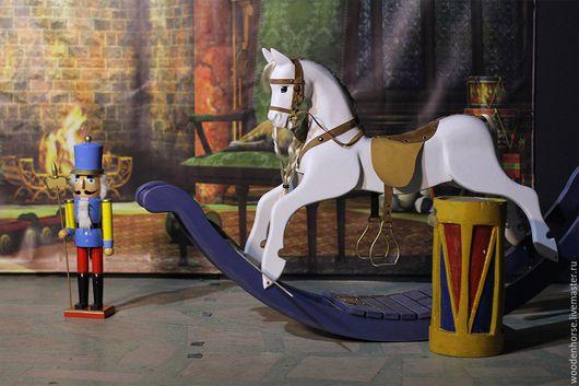 Игрушки животные, ручной работы. Ярмарка Мастеров - ручная работа. Купить Лошадка качалка деревянная  белая (светло-серой масти) на дугах. Handmade.