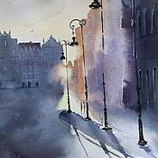 Картины и панно handmade. Livemaster - original item City landscape watercolor Morning (yellow blue-purple lights). Handmade.