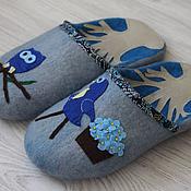 """Обувь ручной работы. Ярмарка Мастеров - ручная работа Тапочки """"Птица цвета ультрамарин"""". Handmade."""