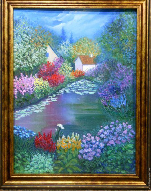 Пейзаж ручной работы. Ярмарка Мастеров - ручная работа. Купить Летний сад. Handmade. Разноцветный, картина на заказ, домик